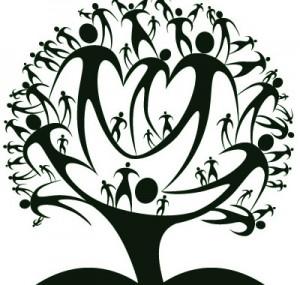Disegno di un albero composto da immagini umane stilizzate di colore nero